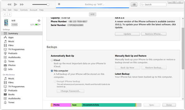 Backup Restore via iTunes